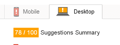 PageSpeed Insights after doing the general settings desktop