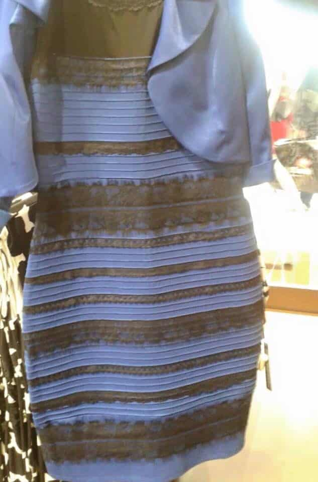 blue and black or white dress