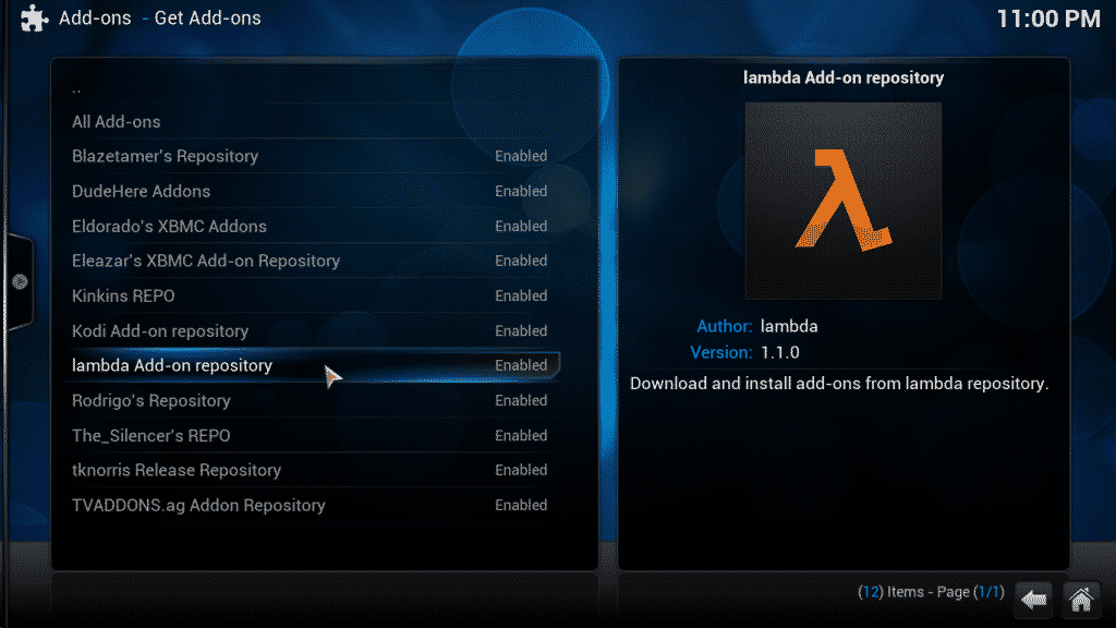 select lambda repository from the list