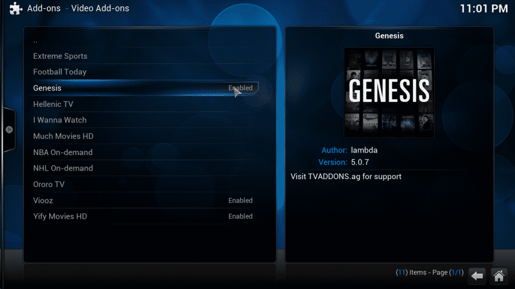selecting genesis from the kodi repo list