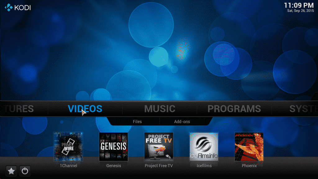 Selecting Genesis from the Kodi screen menu