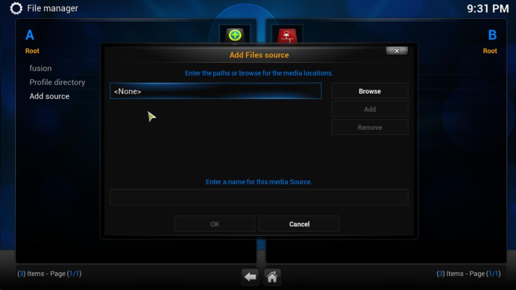 Select none from the kodi screenshot