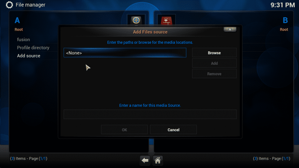 Select none from the kodi screenshot
