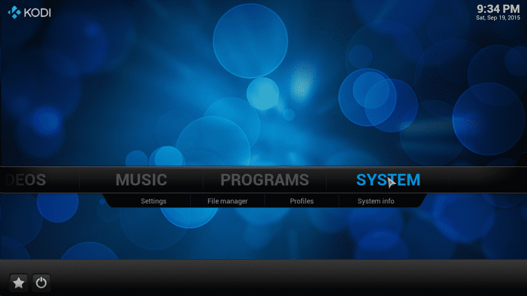 select system from the kodi homescreen