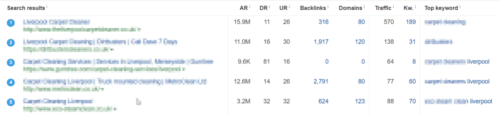 image showing a table of SERPs from Ahrefs
