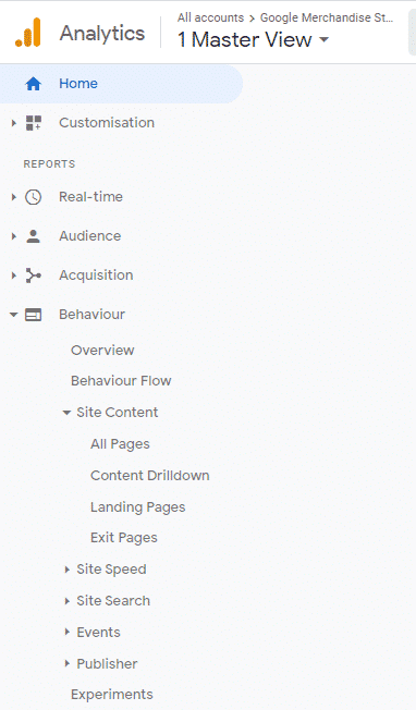 Navigate to find page views in Google Analytics